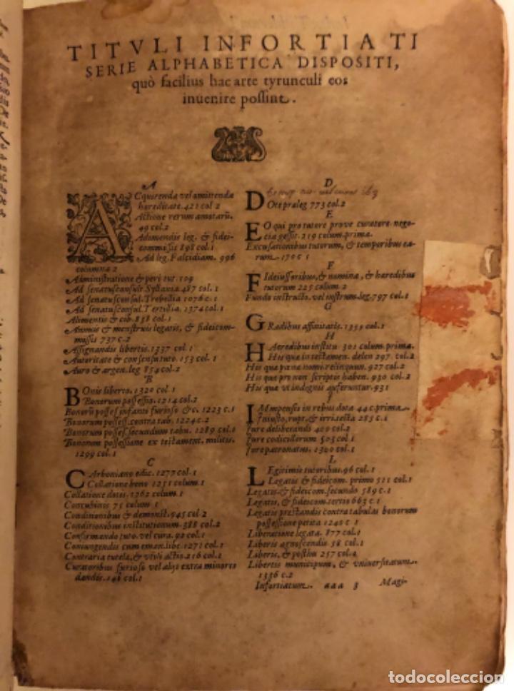Libros antiguos: AÑO 1581 - DIGESTO DE JUSTINIANO A DOS TINTAS - PANDECTARUM SEU DIGESTUM IURIS CIVILIS - GRAN TAMAÑO - Foto 3 - 218751242