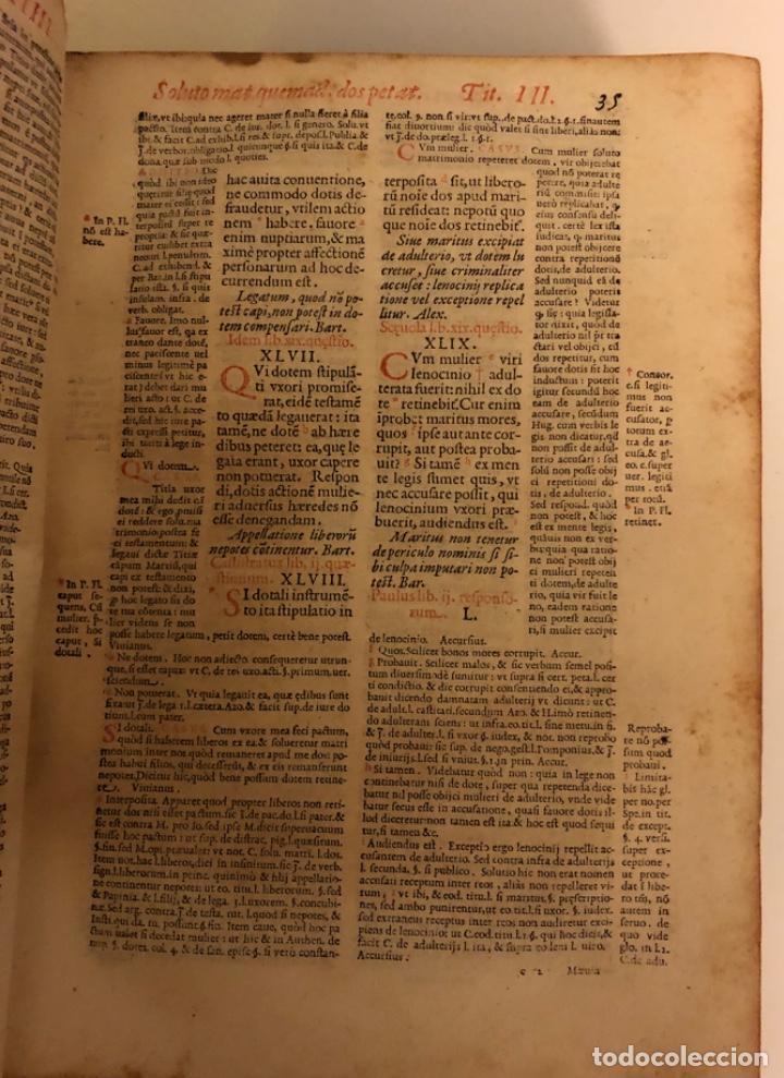 Libros antiguos: AÑO 1581 - DIGESTO DE JUSTINIANO A DOS TINTAS - PANDECTARUM SEU DIGESTUM IURIS CIVILIS - GRAN TAMAÑO - Foto 8 - 218751242