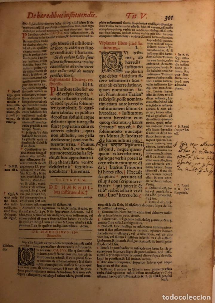Libros antiguos: AÑO 1581 - DIGESTO DE JUSTINIANO A DOS TINTAS - PANDECTARUM SEU DIGESTUM IURIS CIVILIS - GRAN TAMAÑO - Foto 10 - 218751242