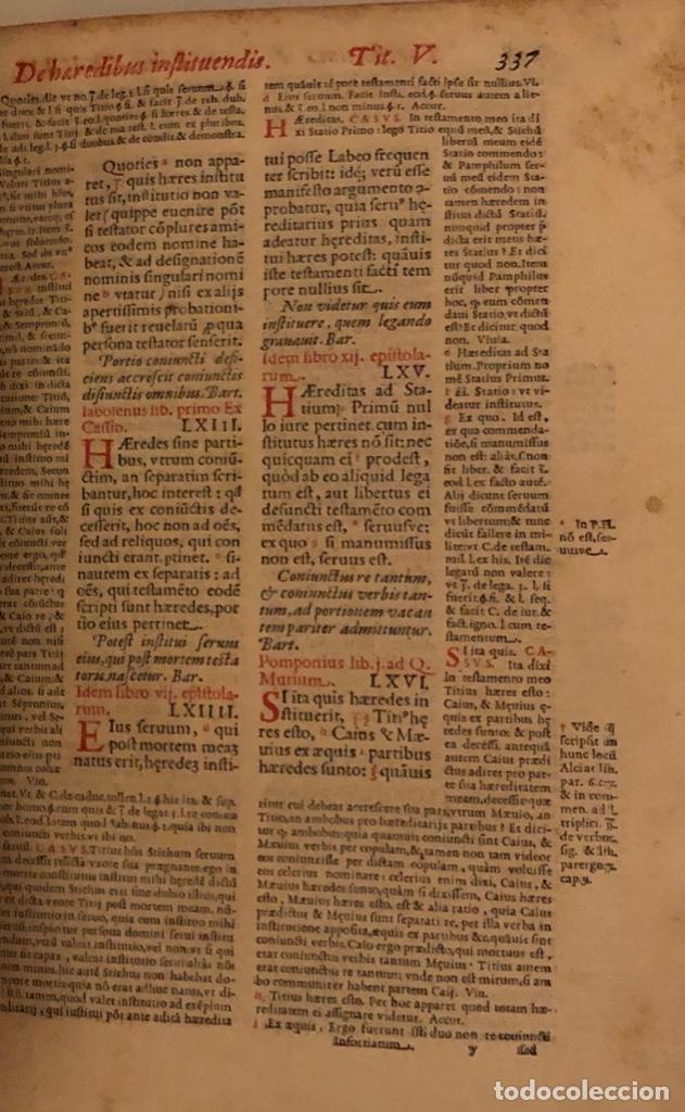 Libros antiguos: AÑO 1581 - DIGESTO DE JUSTINIANO A DOS TINTAS - PANDECTARUM SEU DIGESTUM IURIS CIVILIS - GRAN TAMAÑO - Foto 12 - 218751242