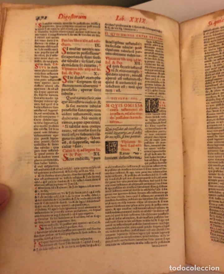 Libros antiguos: AÑO 1581 - DIGESTO DE JUSTINIANO A DOS TINTAS - PANDECTARUM SEU DIGESTUM IURIS CIVILIS - GRAN TAMAÑO - Foto 13 - 218751242
