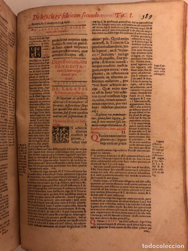 Libros antiguos: AÑO 1581 - DIGESTO DE JUSTINIANO A DOS TINTAS - PANDECTARUM SEU DIGESTUM IURIS CIVILIS - GRAN TAMAÑO - Foto 14 - 218751242