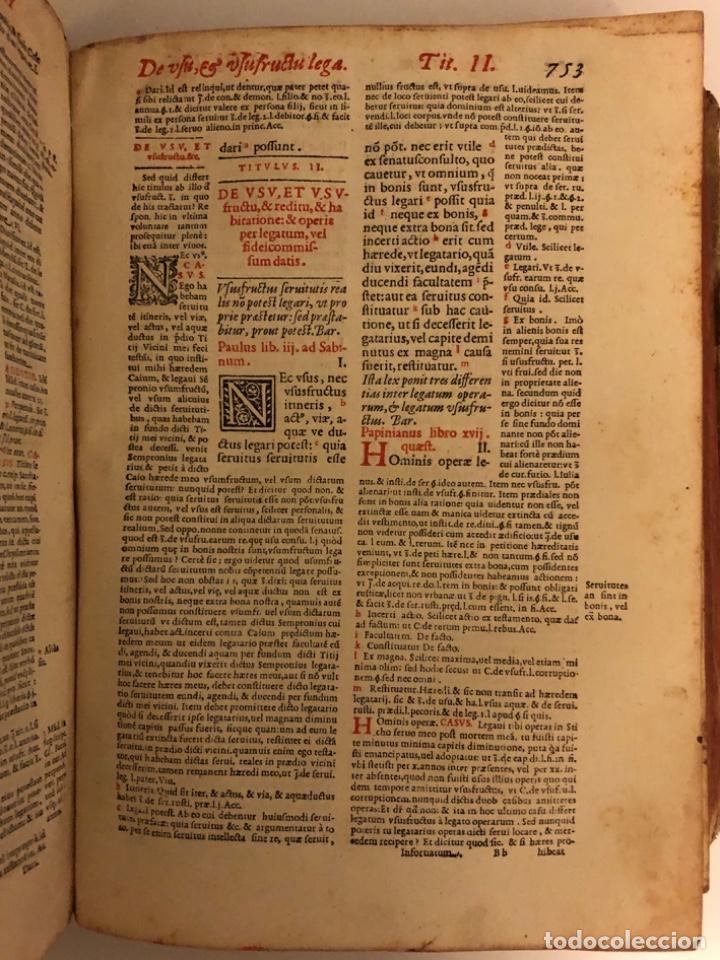 Libros antiguos: AÑO 1581 - DIGESTO DE JUSTINIANO A DOS TINTAS - PANDECTARUM SEU DIGESTUM IURIS CIVILIS - GRAN TAMAÑO - Foto 15 - 218751242