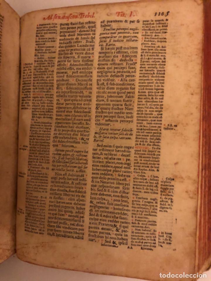 Libros antiguos: AÑO 1581 - DIGESTO DE JUSTINIANO A DOS TINTAS - PANDECTARUM SEU DIGESTUM IURIS CIVILIS - GRAN TAMAÑO - Foto 19 - 218751242