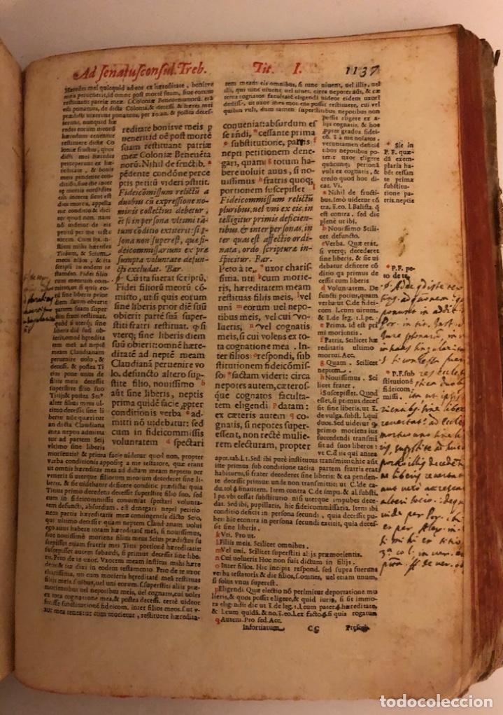 Libros antiguos: AÑO 1581 - DIGESTO DE JUSTINIANO A DOS TINTAS - PANDECTARUM SEU DIGESTUM IURIS CIVILIS - GRAN TAMAÑO - Foto 20 - 218751242
