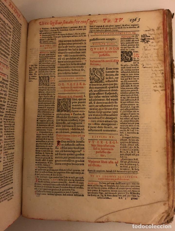 Libros antiguos: AÑO 1581 - DIGESTO DE JUSTINIANO A DOS TINTAS - PANDECTARUM SEU DIGESTUM IURIS CIVILIS - GRAN TAMAÑO - Foto 22 - 218751242