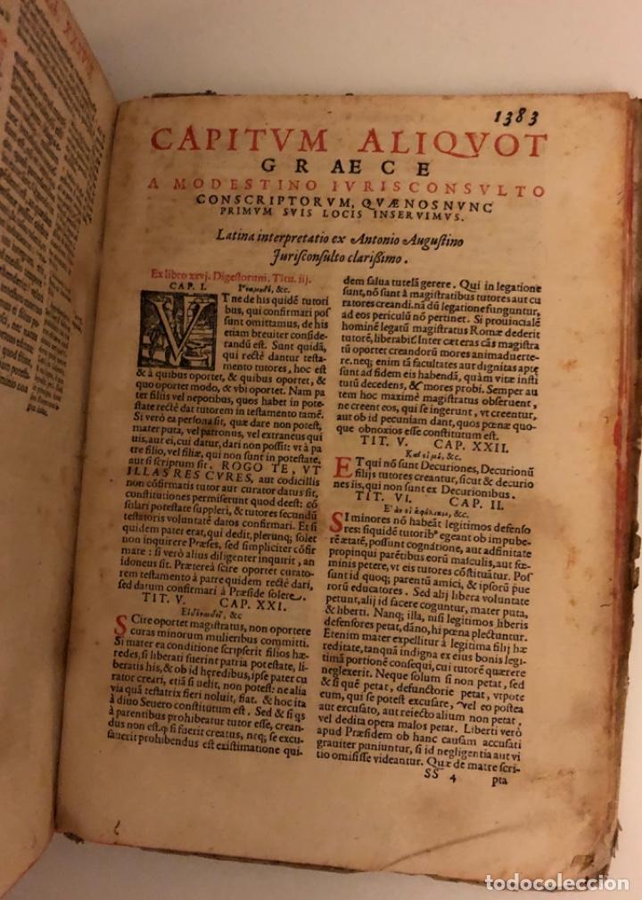 Libros antiguos: AÑO 1581 - DIGESTO DE JUSTINIANO A DOS TINTAS - PANDECTARUM SEU DIGESTUM IURIS CIVILIS - GRAN TAMAÑO - Foto 24 - 218751242