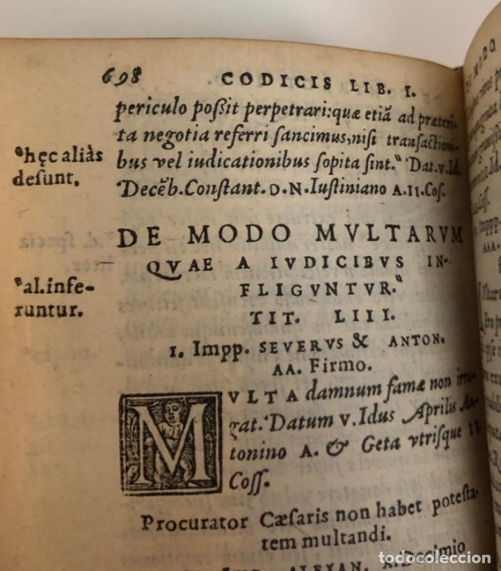 Libros antiguos: AÑO 1581 - CODIGO DE JUSTINIANO - Codex repetitae praelectionis - Corpus iuris civilis - Foto 19 - 218753481