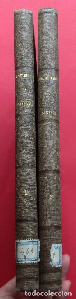 Libros antiguos: SISTEMAS ESPECIALES DE CONTABILIDAD. JUAN DE DIOS NAVARRO. 2 TOMOS. 1856. 336 Y 346 PÁG. 29 X 21 CM. - Foto 2 - 218778405