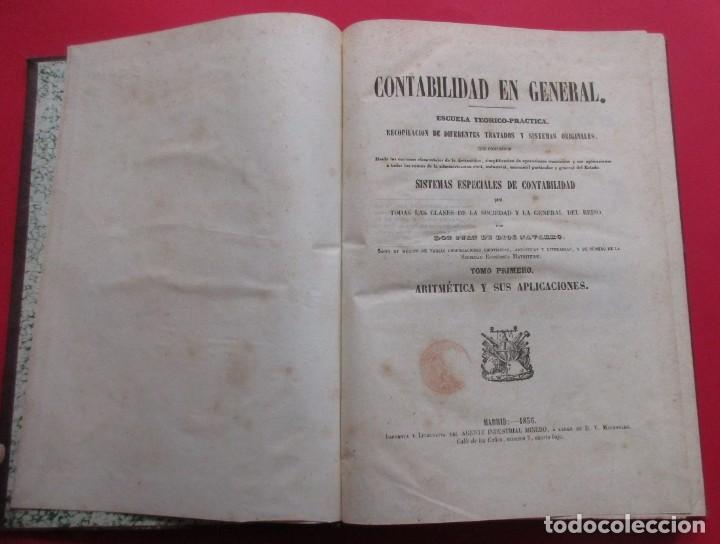Libros antiguos: SISTEMAS ESPECIALES DE CONTABILIDAD. JUAN DE DIOS NAVARRO. 2 TOMOS. 1856. 336 Y 346 PÁG. 29 X 21 CM. - Foto 3 - 218778405