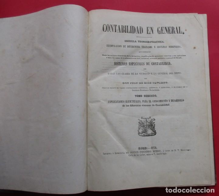 Libros antiguos: SISTEMAS ESPECIALES DE CONTABILIDAD. JUAN DE DIOS NAVARRO. 2 TOMOS. 1856. 336 Y 346 PÁG. 29 X 21 CM. - Foto 7 - 218778405