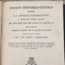 Libros antiguos: ENSAYO HISTORICO-CRITICO SOBRE LA ANTIGUA LEGISLACION Y PRINCIPALES...MARINA (1808). Lote 218798608