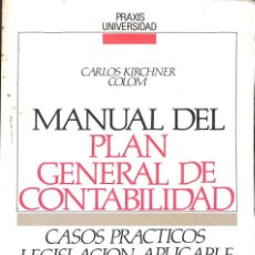 Libros antiguos: MANUAL DEL PLAN GENERAL DE CONTABILIDAD - KIRCHNER COLOM, CARLOS. Lote 220389608
