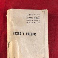 Libros antiguos: TASAS Y PRECIOS. Lote 221552587