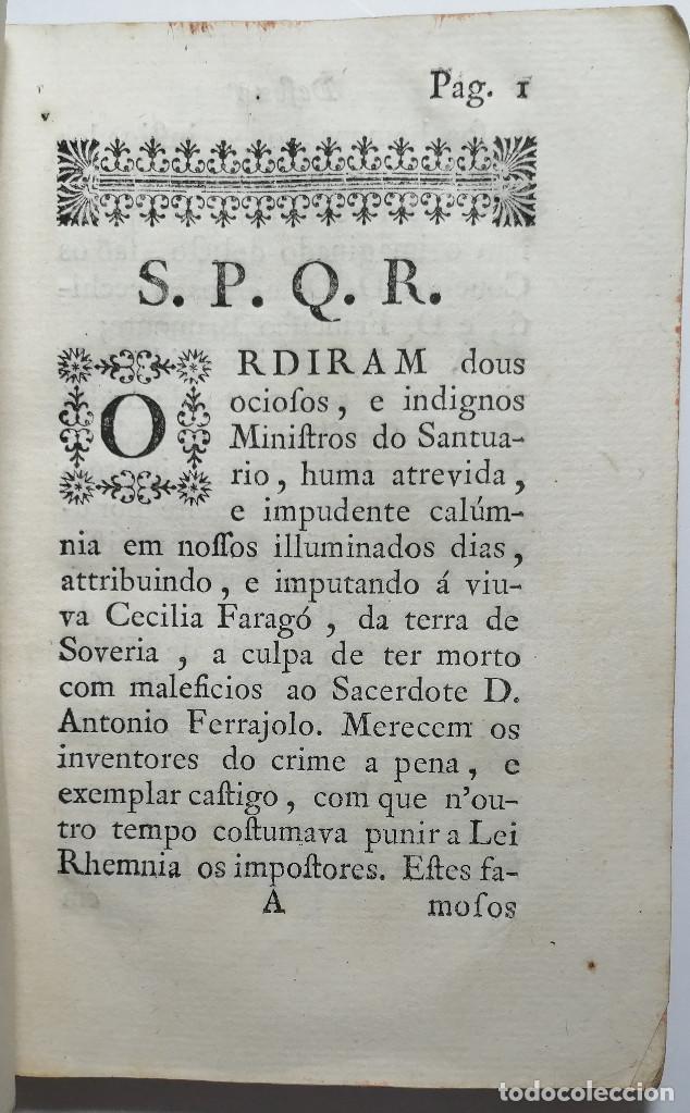 Libros antiguos: DEFEZA DE CECILIA FARAGO ACUSADA DO CRIME FEITICERIA. 1783. - Foto 4 - 221632795