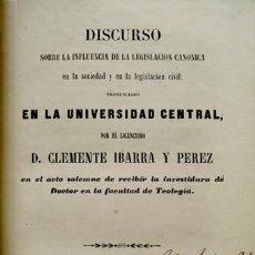 Libros antiguos: ISCURSO SOBRE LA INFLUENCIA DE LA LEGISLACIÓN CANÓNICA EN LA SOCIEDAD Y EN LA LEGISLACIÓN CIVIL.1856. Lote 222580301