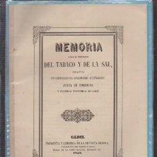 Libros antiguos: MEMORIA DEL TABACO Y DE LA SAL, REDACTADA POR COMISIONADOS DEL EXMO. AYTO. - A-CA-2935. Lote 222832525