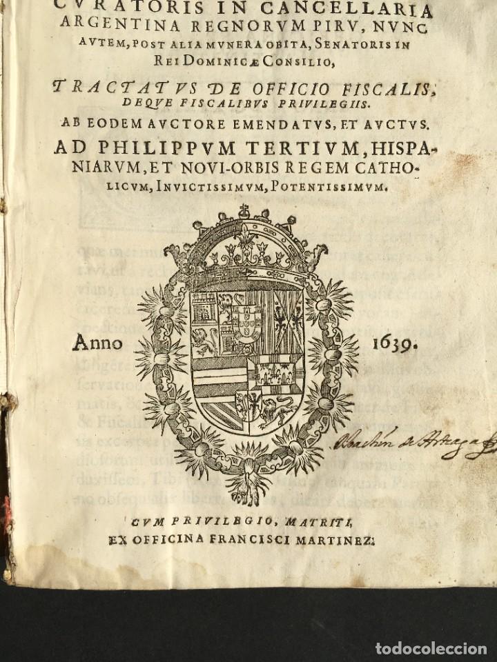 Libros antiguos: 1639 Derecho Indiano - fiscal - América - Alfaro, Francisco de - Tractatus de officio fiscalis - Foto 4 - 224631223