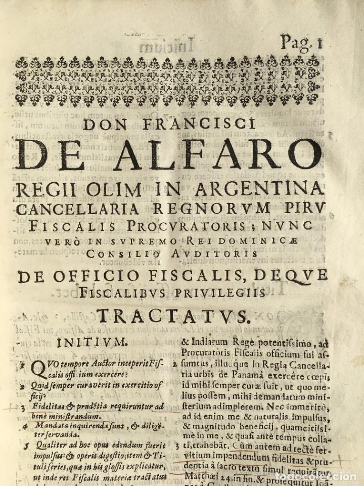 Libros antiguos: 1639 Derecho Indiano - fiscal - América - Alfaro, Francisco de - Tractatus de officio fiscalis - Foto 9 - 224631223