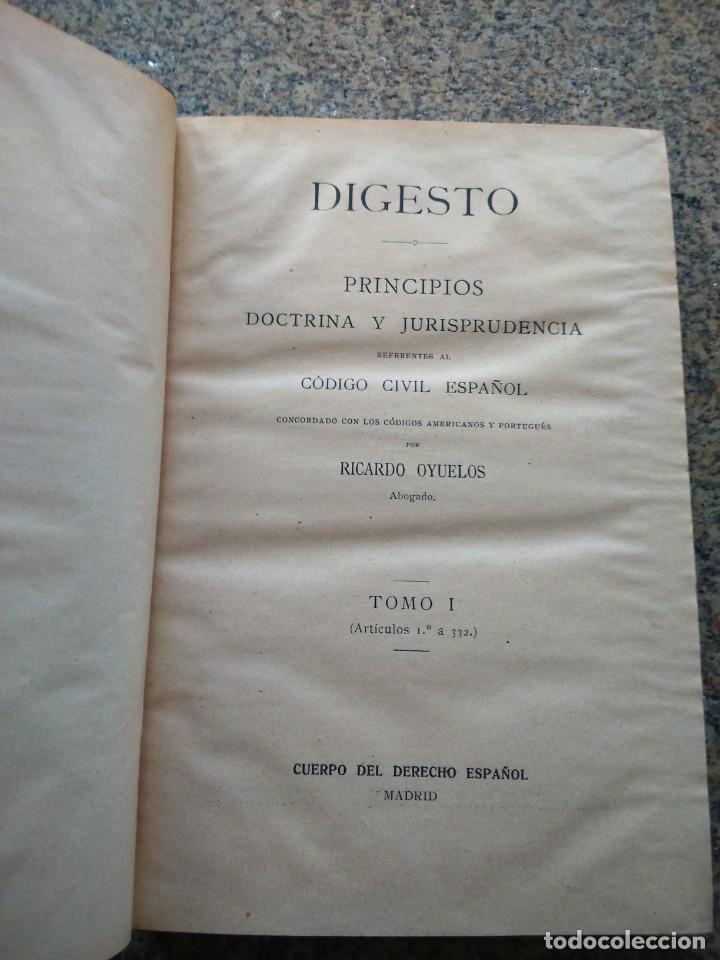 Libros antiguos: DIGESTO - PRINCIPIOS DOCTRINA Y JURISPRUDENCIA - RICARDO OYUELOS -- MADRID 1917 / 1932 -- - Foto 2 - 224662788