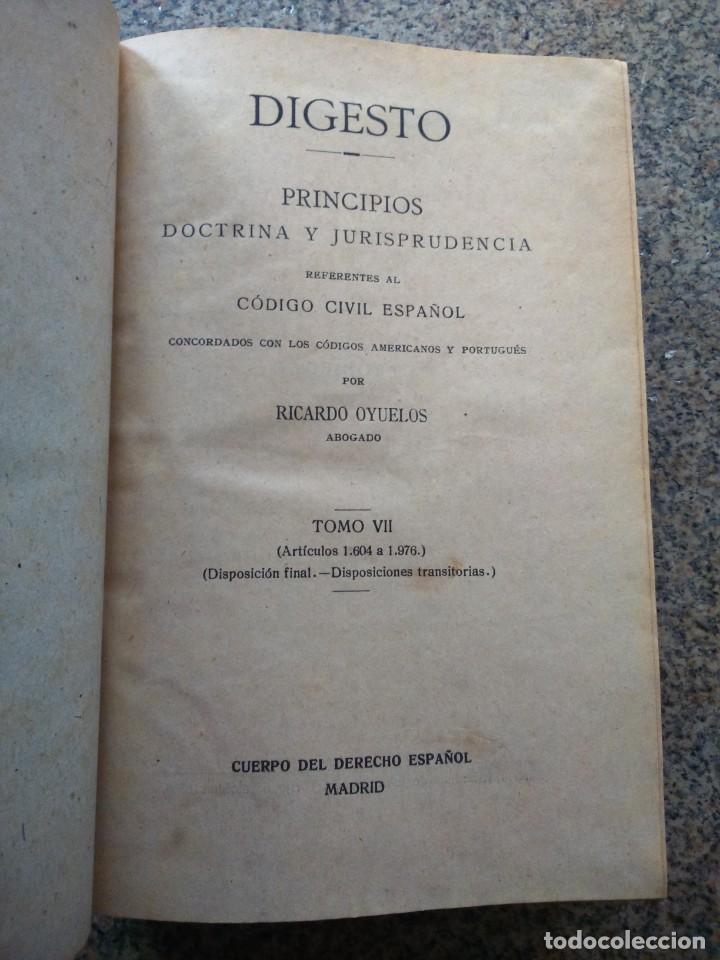 Libros antiguos: DIGESTO - PRINCIPIOS DOCTRINA Y JURISPRUDENCIA - RICARDO OYUELOS -- MADRID 1917 / 1932 -- - Foto 3 - 224662788