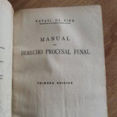 Libros antiguos: 4.2 RAFAEL DE PINA. MANUAL DE DERECHO PROCESAL PENAL. MADRID 1934. Lote 227583250