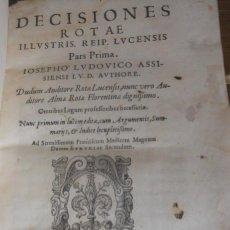 Libros antiguos: IOSEPHO LUDOVICO: DECISIONES ROTAE. FLORENCIA, 1577. DERECHO CANÓNICO IMPRENTA. Lote 229101535