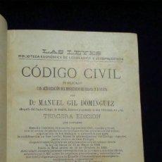 Libros antiguos: CÒDIGO CIVIL, MANUEL GIL DOMÍNGUEZ - 1892. Lote 231411805