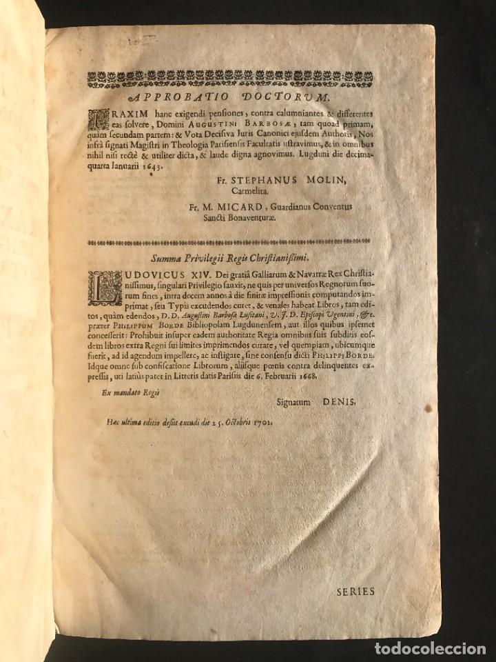 Libros antiguos: 1702 - AGUSTIN BARBOSA - PRAXIS METODICA EXIGENDI PENSIONES - DERECHO - PERGAMINO - Foto 6 - 233574270