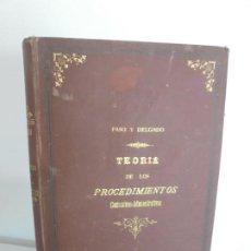 Libros antiguos: TEORIA DE LOS PROCEDIMIENTOS CONTENCIOSO-ADMINISTRATIVOS. NICOLAS DE PASO Y DELGADO. 1889. Lote 235141850