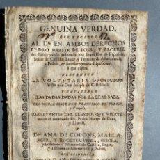 Libros antiguos: 1740 PLEITO POR LA SUCESION DE MARIA DE COPONS MALLA - ALBATARRECH - LLEIDA - CATALUÑA - GENEALOGIA. Lote 235321925