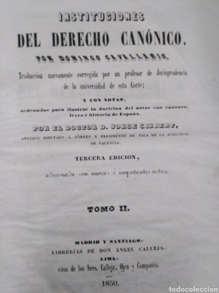 Libros antiguos: INSTITUCIONES DEL DERECHO CANÓNICO-DOMINGO CAVALLARIO-TOMO II-LIBRERÍA CALLEJA 1850-MIRAR FOTOS - Foto 2 - 235424340