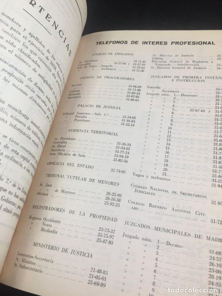 Libros antiguos: Lista de los Colegios de Abogados , Notarios, Procuradores y Secretarios Judiciales de Madrid 1959 - Foto 12 - 235628995
