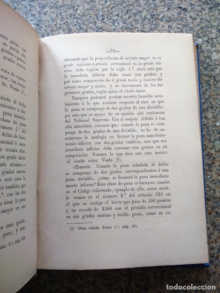 Libros antiguos: PARTE ARTISTICA DEL CODIGO PENAL VIGENTE. ESTUDIO TEORICO Y PRACTICO -- RAMIRO RUEDA -- 1890 - - Foto 2 - 236327710