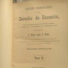 Libros antiguos: TRATADO TEÓRICO LEGAL DEL DERECHO DE SUCESIÓN. NICOLÁS LÓPEZ R. GÓMEZ. 1896.. Lote 236409955