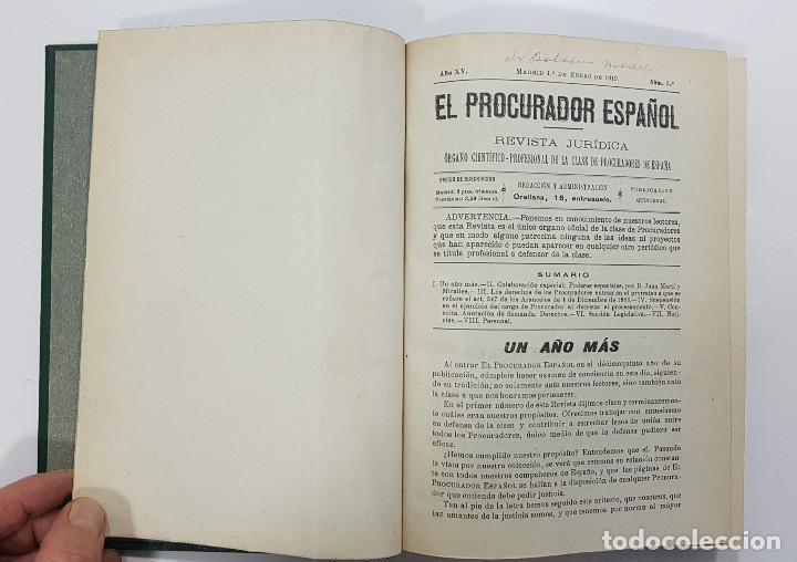 Libros antiguos: EL PROCURADOR ESPAÑOL. REVISTA JURIDICA. AÑO 1919. Organo Científico-Profesional de los Procuradores - Foto 6 - 237181355