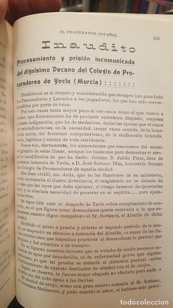 Libros antiguos: EL PROCURADOR ESPAÑOL. REVISTA JURIDICA. AÑO 1919. Organo Científico-Profesional de los Procuradores - Foto 9 - 237181355