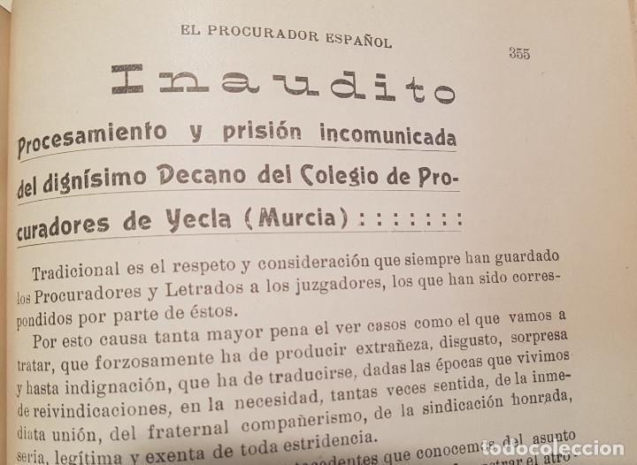 Libros antiguos: EL PROCURADOR ESPAÑOL. REVISTA JURIDICA. AÑO 1919. Organo Científico-Profesional de los Procuradores - Foto 10 - 237181355