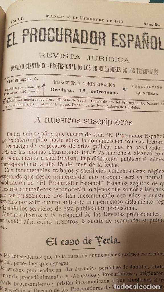 EL PROCURADOR ESPAÑOL. REVISTA JURIDICA. AÑO 1919. ORGANO CIENTÍFICO-PROFESIONAL DE LOS PROCURADORES (Libros Antiguos, Raros y Curiosos - Ciencias, Manuales y Oficios - Derecho, Economía y Comercio)