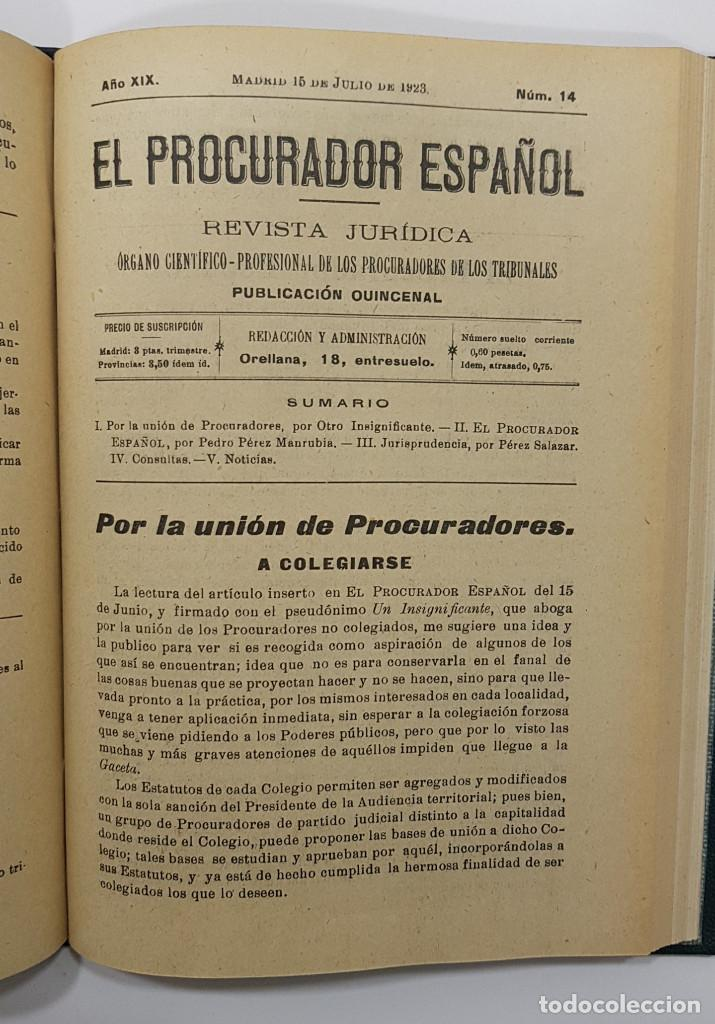 Libros antiguos: EL PROCURADOR ESPAÑOL. REVISTA JURIDICA. AÑO 1923. Organo Científico-Profesional de los Procuradores - Foto 14 - 238462480