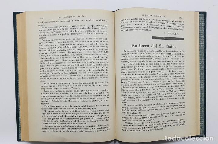Libros antiguos: EL PROCURADOR ESPAÑOL. REVISTA JURIDICA. AÑO 1923. Organo Científico-Profesional de los Procuradores - Foto 5 - 238462480