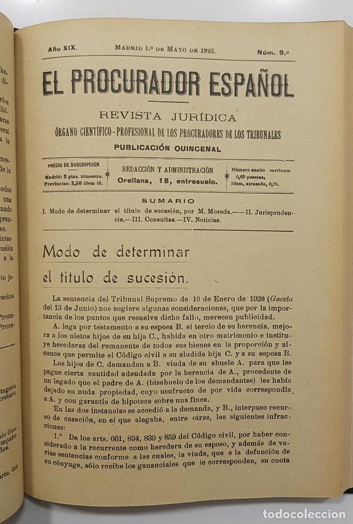 Libros antiguos: EL PROCURADOR ESPAÑOL. REVISTA JURIDICA. AÑO 1923. Organo Científico-Profesional de los Procuradores - Foto 9 - 238462480