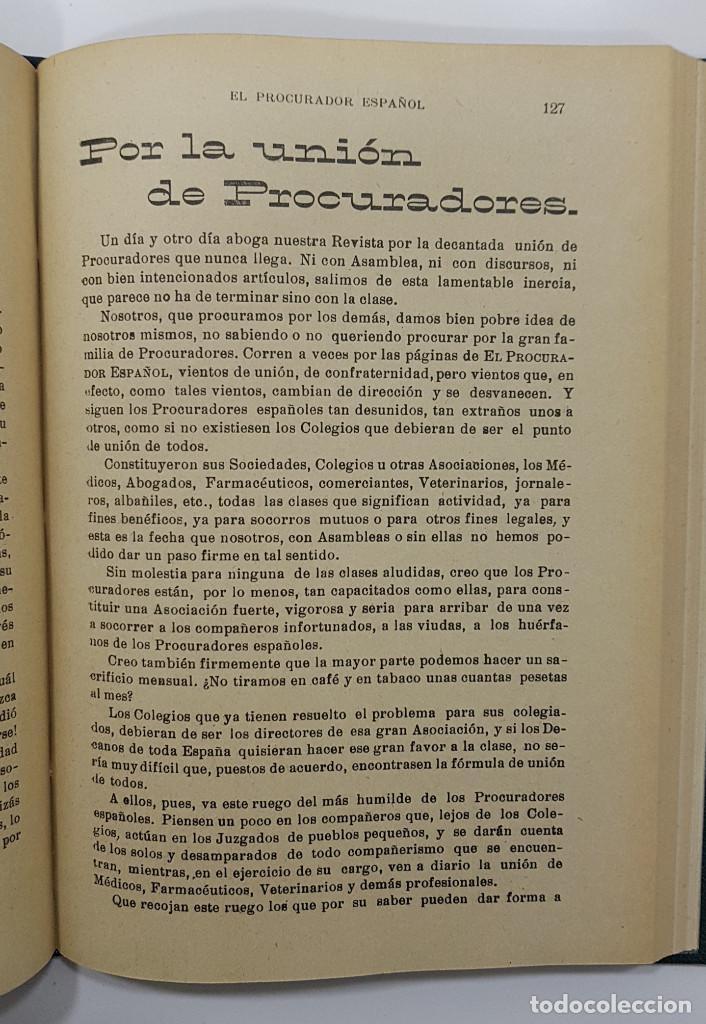 Libros antiguos: EL PROCURADOR ESPAÑOL. REVISTA JURIDICA. AÑO 1923. Organo Científico-Profesional de los Procuradores - Foto 10 - 238462480