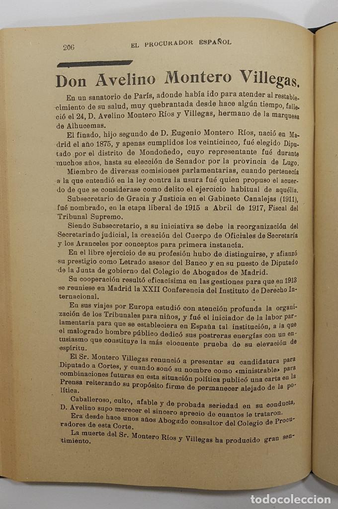 Libros antiguos: EL PROCURADOR ESPAÑOL. REVISTA JURIDICA. AÑO 1923. Organo Científico-Profesional de los Procuradores - Foto 12 - 238462480