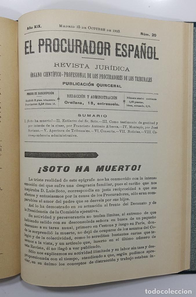 Libros antiguos: EL PROCURADOR ESPAÑOL. REVISTA JURIDICA. AÑO 1923. Organo Científico-Profesional de los Procuradores - Foto 13 - 238462480