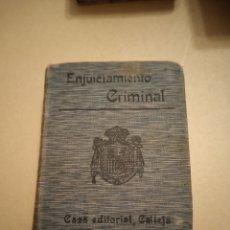 Libros antiguos: ENJUICIAMIENTO CRIMINAL BIBLIOTECA DE DERECHO SATURNINO CALLEJA. Lote 240588640