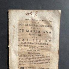 Livres anciens: 1733 - PLEITO POR EL PAGO DE LUISMO SOBRE UNA CASA Y MESÓN EN BARBERÁ - CATALUÑA - PLEITO. Lote 241852115