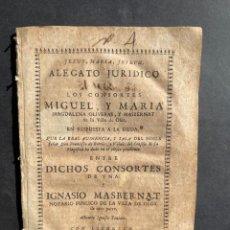 Livros antigos: 1736 - PLEITO ENTRE UN MATRIMONIO DE OLOT CONTRA SU PADRE EXIGIÉNDOLE MANUTENCIÓN - MASBERNAT. Lote 241855565