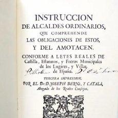 Libros antiguos: CARLOS III - INSTRUCCIÓN DE ALCALDES ORDINARIOS. Lote 242178275