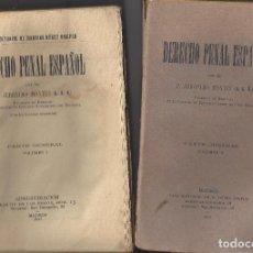 Libros antiguos: DERECHO PENAL ESPAÑOL.TOMOS I Y II.P.JERÓNIMO MONTES. AÑO 1917. Lote 243775355